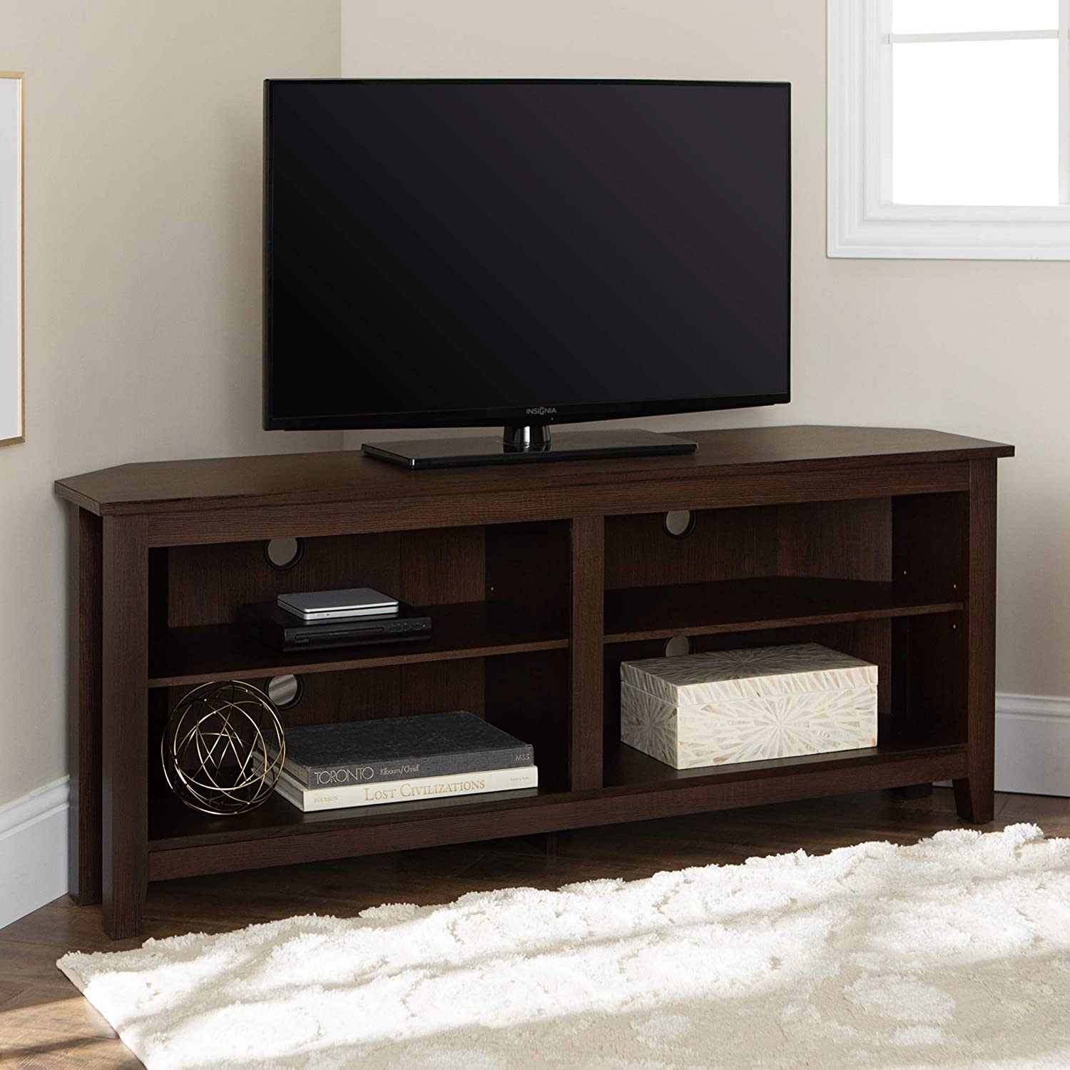 WE Furniture Simple Farmhouse Wood Stand with Storage Cabinets for TV s up to 56 Living Room, 58 Inch, Espresso