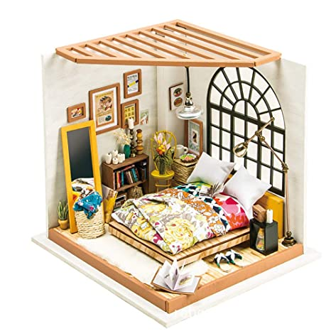 Eggschale Dollhouse Miniature DIY House Kit 3D Model Wooden Toy Alices Dreamy Bedroom Creative Gifts