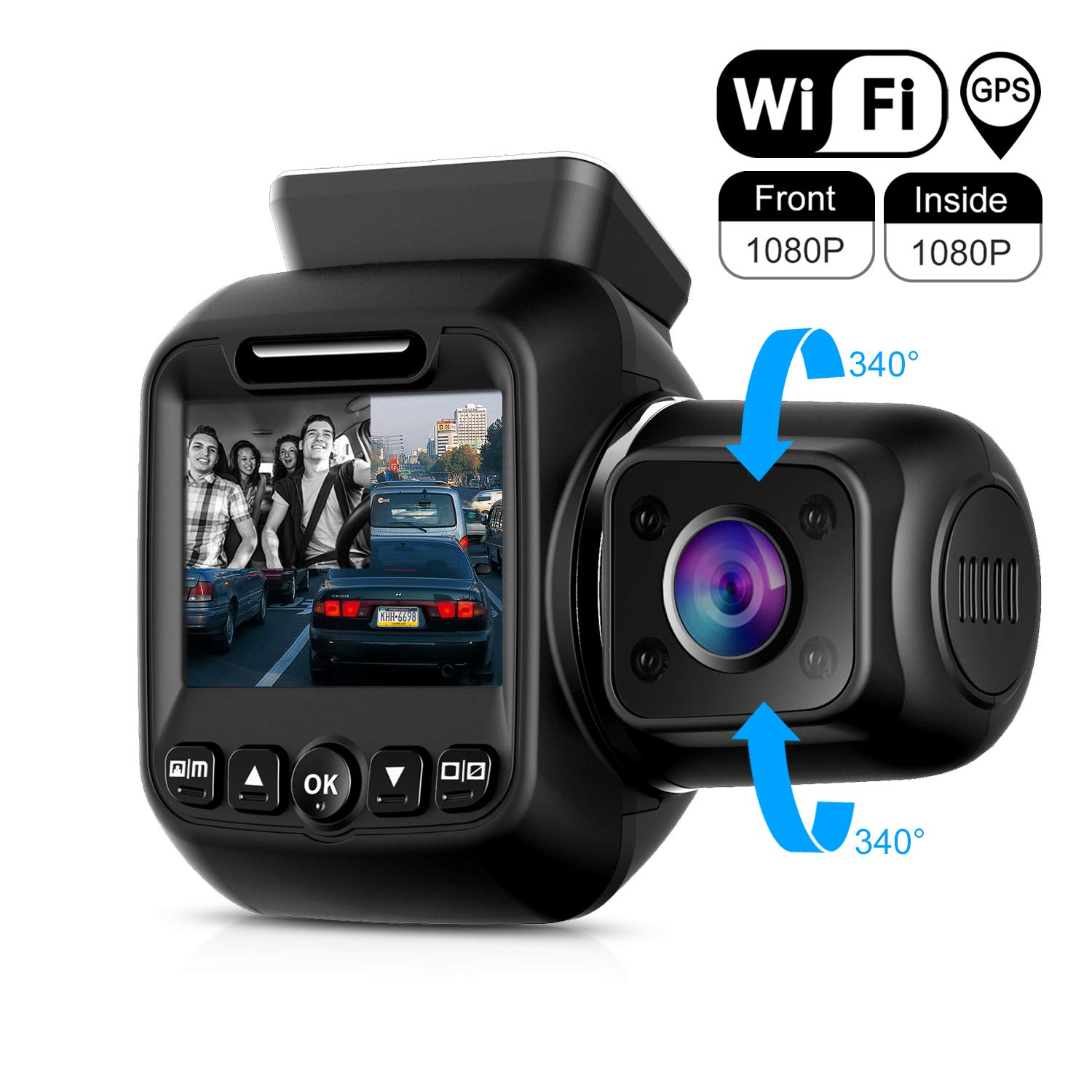 Upgraded Pruveeo P3 Dash Cam with Infrared Night Vision, Built-in GPS, WiFi, Dual 1080P Front and Inside, Dash Camera for Cars Uber Lyft Truck Taxi by Pruveeo (Image #1)