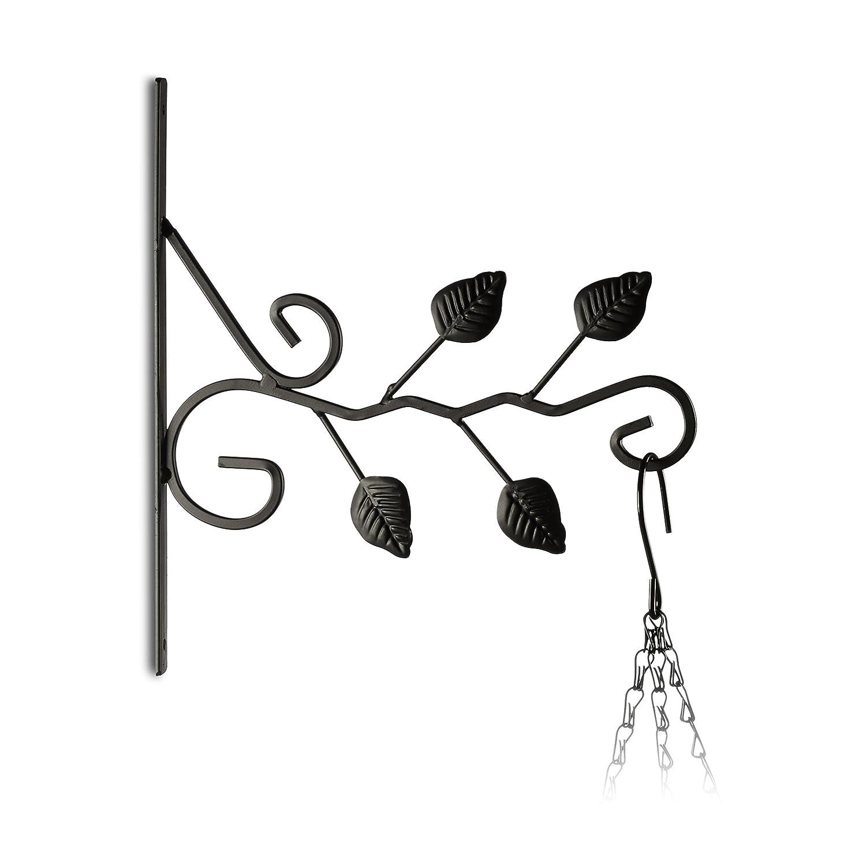 Relaxdays Gancho para macetas hojas, gancho de pared para cestos, decoración de jardín, metal, 30 x 28 x 2 cm, negro 10020695_626