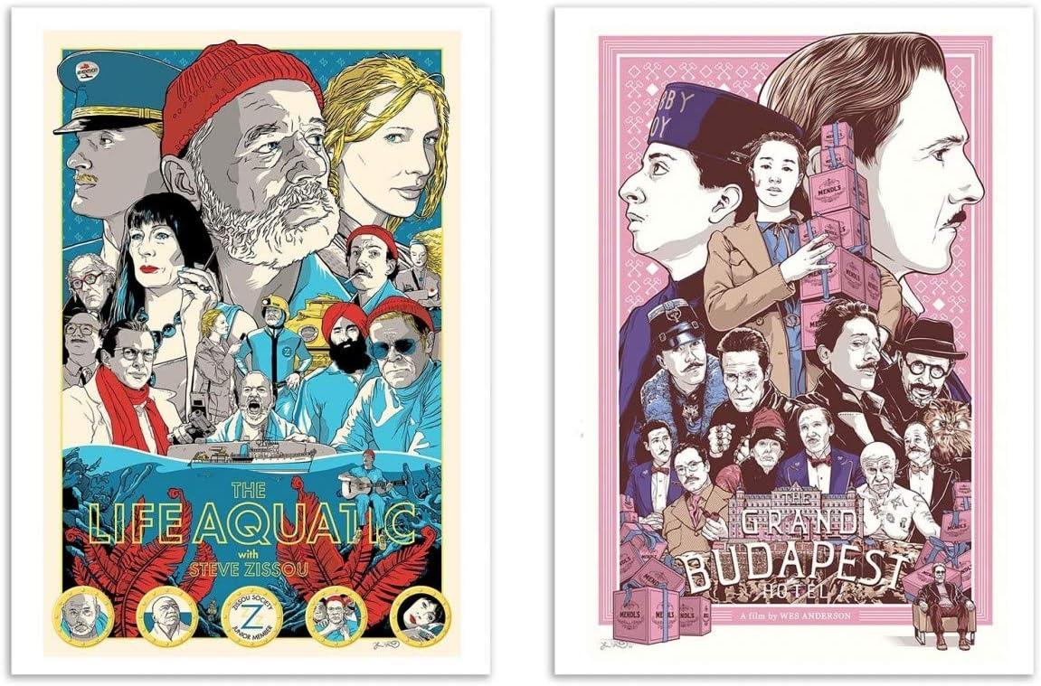 2 Art-Posters 30 x 40 cm Joshua Budich Wes Anderson Fan Art Wall Editions