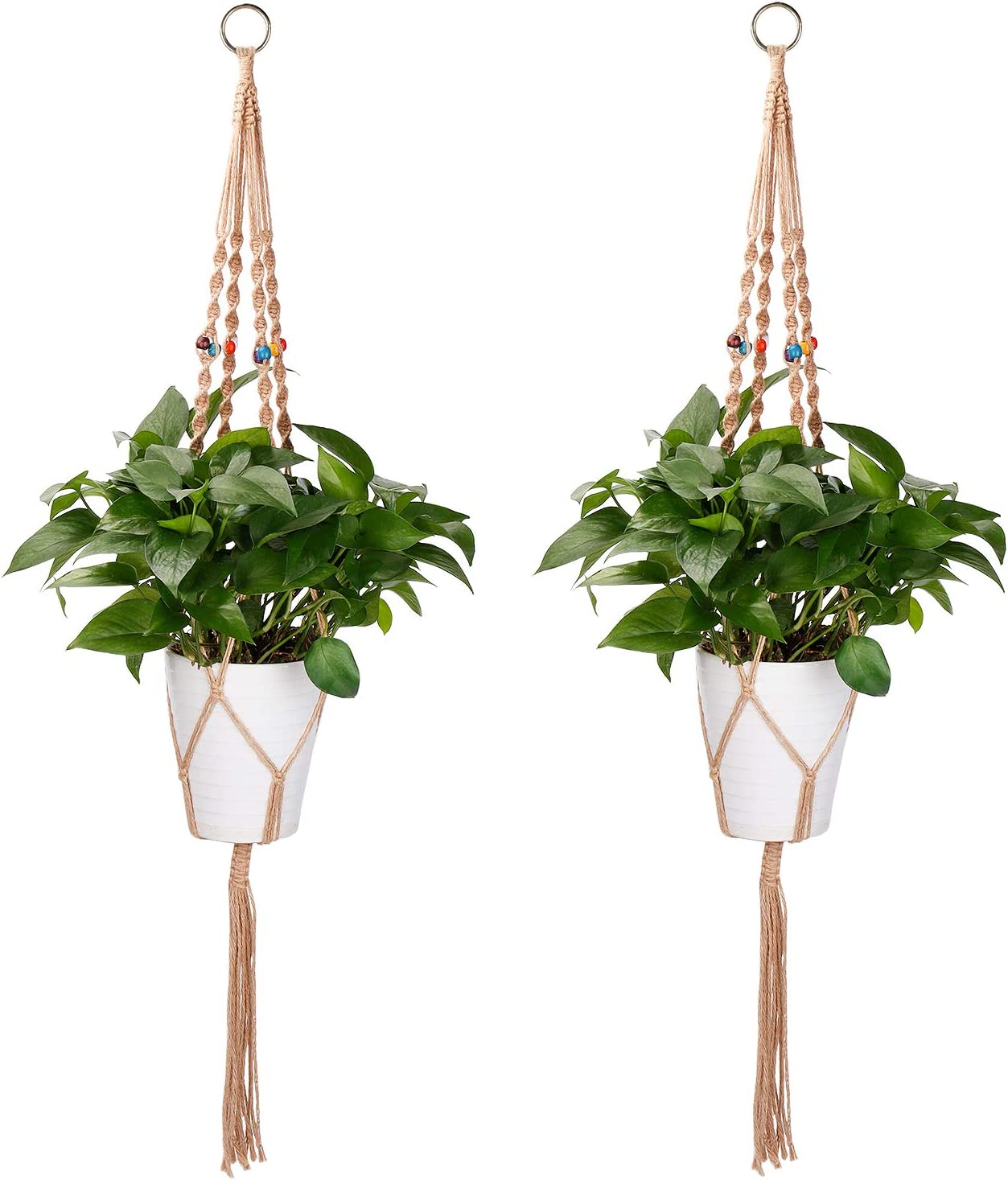 PEMOTech Macrame Plant Hangers, 2 Pack Jute Plant Hangers Indoor Hanging Plant Holders with Colored Beads for Indoor, Outdoor, Balcony, Garden, Ceiling 4 Legs 43 Inch