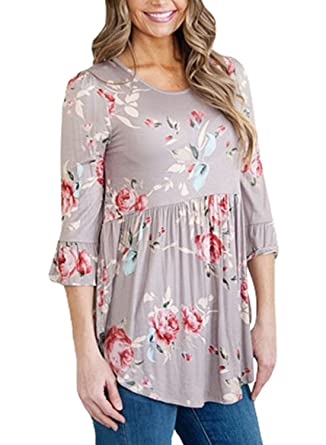 11295bdc2ac054 Amazon.com  AlvaQ Womens Ladies Amazon Sexy Plus Size Sleeve Floral Tunic  Blouses Tops For Juniors Grey 2XL  Clothing