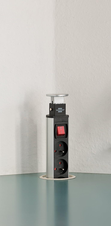 c/âble 2m H05VV-F 3G1,5, avec interrupteur alu//noir Brennenstuhl Bloc multiprise escamotable /& encastrable 3 prises