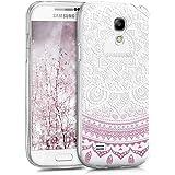 kwmobile Étui transparent en TPU silicone pour Samsung Galaxy S4 Mini en violet blanc transparent Design soleil indien