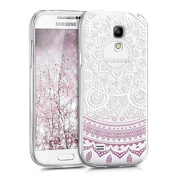 kwmobile Funda para Samsung Galaxy S4 Mini - Carcasa de [TPU] para móvil y diseño de Sol hindú en [Violeta/Blanco/Transparente]