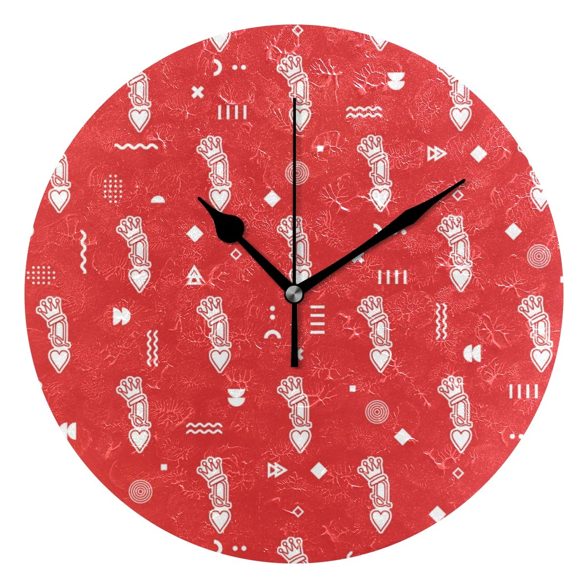 Amazon.com HCMusic Round Queen of Hearts Wall Clock, Silent
