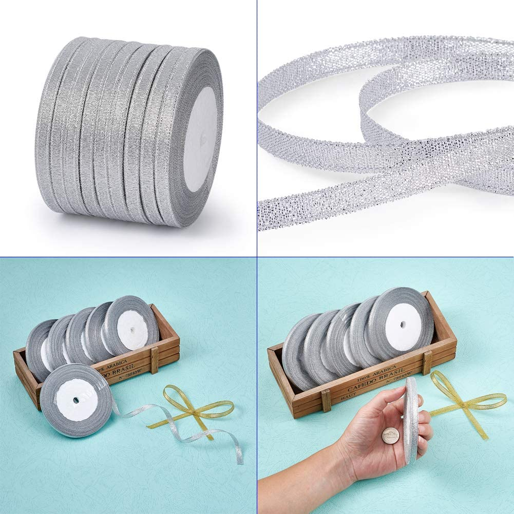 Pandahall 10Rolls//250yards//228meters 1//4 Wide Sparkle Organza Ribbon Fabric Cord Double Sided Lace for Jewelry Craft Making Gift Package Bow Supplies Wedding Party Favor Decoration Golden Color