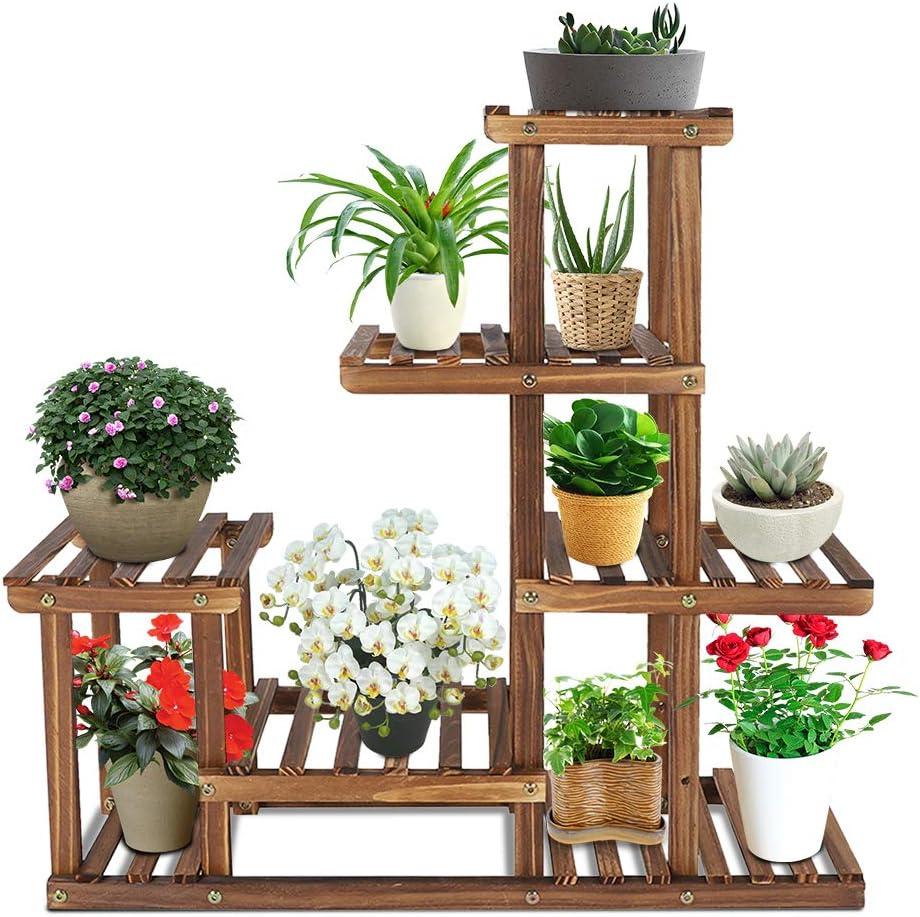 Wood Plant Stand, 5 Tier Carbonized Plant Shelf Freestanding Flower Pot Holder Plant Display Rack for Indoor Outdoor Patio Garden Balcony Yard Living Room
