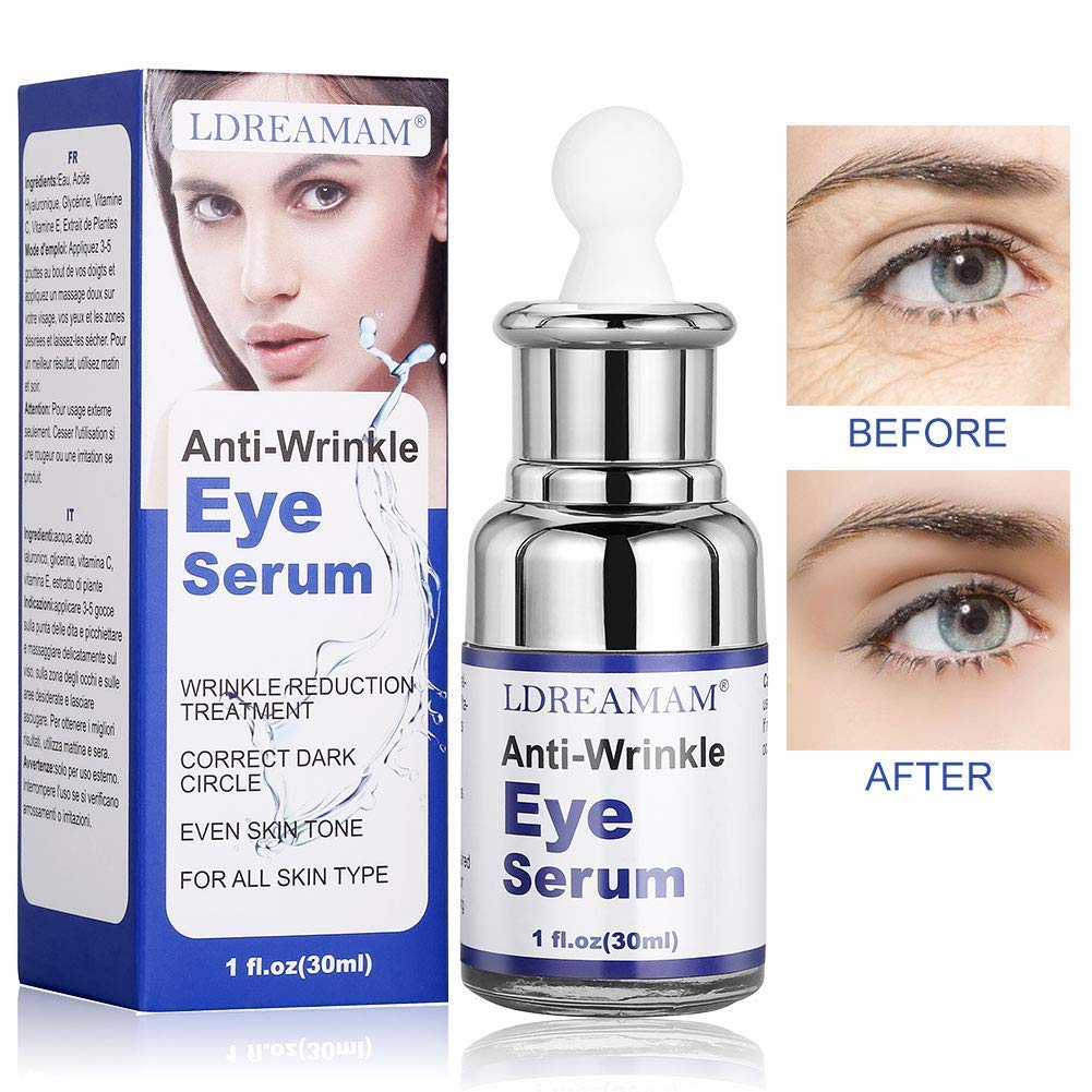 Eye Serum,Under Eye Cream,Wrinkle Eye Serum,Anti Ageing Eye Cream for Dark Circles,Puffiness,Finelines,Under Eye Bags by LDREAMAM