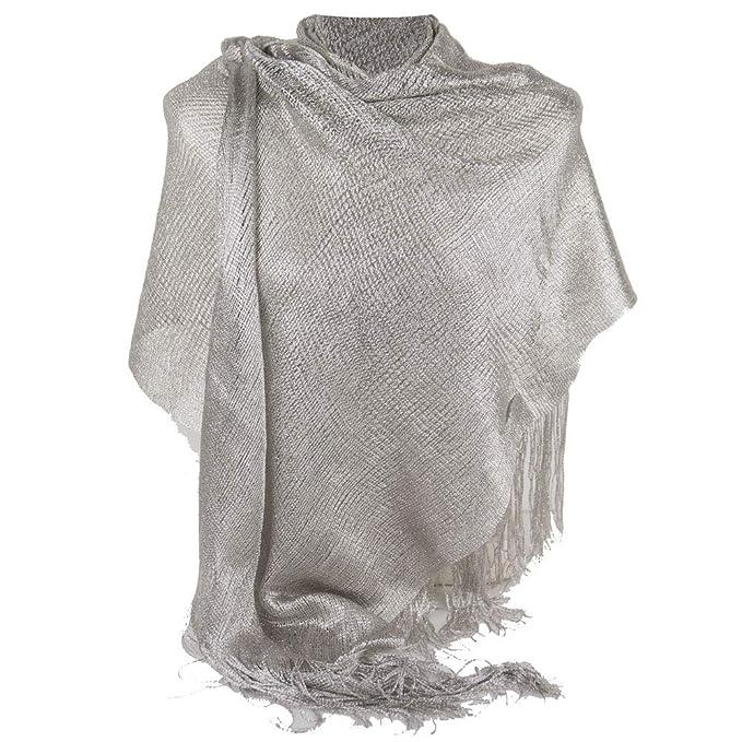 4bdeccc731c946 Emila Stola argento chiaro cerimonia coprispalle elegante a rete con frange  foulard scialle grande lurex da matrimonio per abito da sera giorno  primavera ...