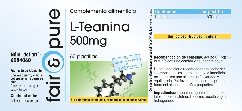 L-teanina 500 mg - 60 comprimidos - Sustancia pura y sin aditivos: Amazon.es: Salud y cuidado personal