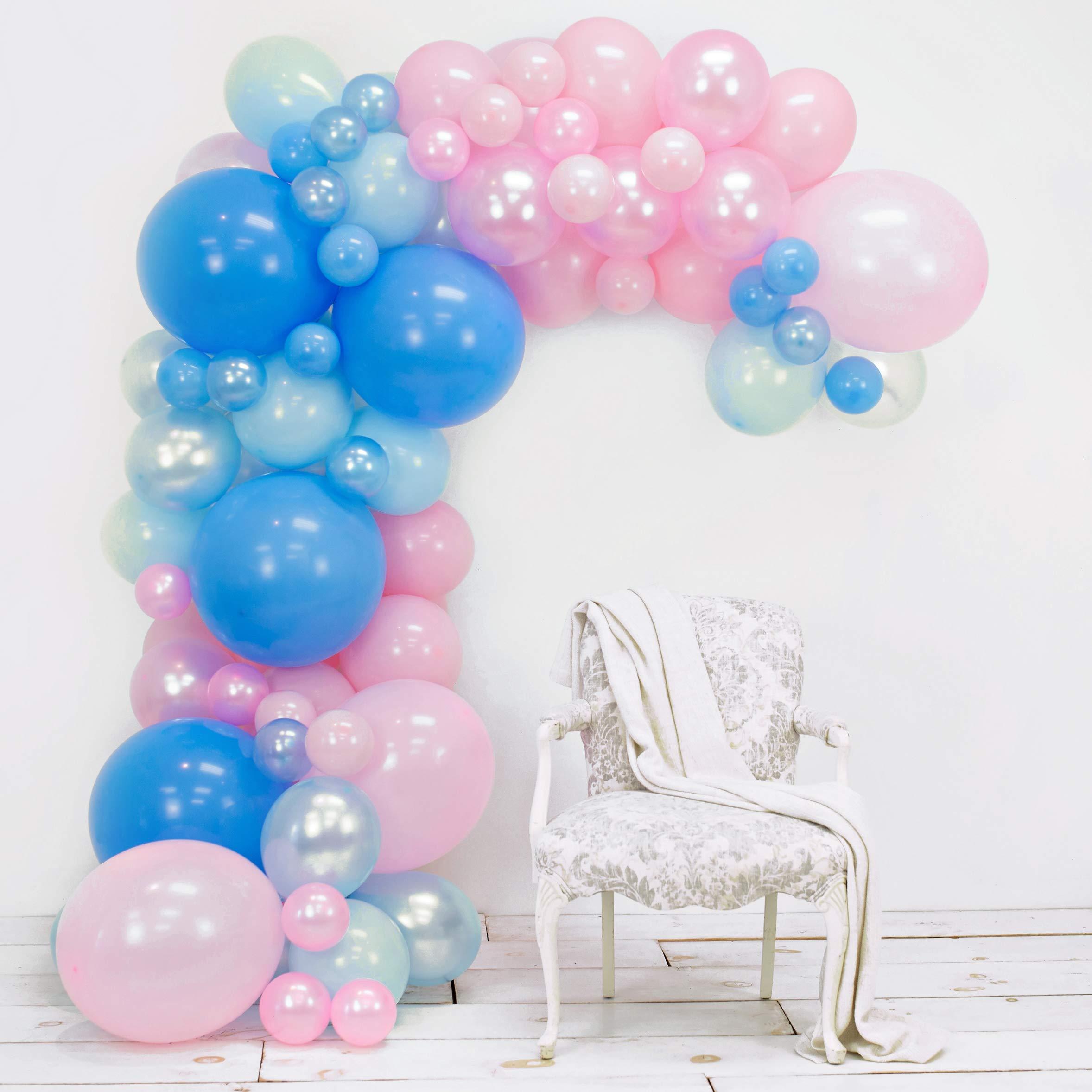 Junibel Balloon Arch & Garland Kit   Blue & Pink Pearl & Latex Balloons   Glue Dots & Decorating Strip   Gender Reveal, Wedding, Baby Shower, Graduation, Anniversary Organic Party Decorations