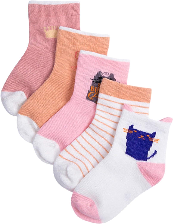 ANIMQUE 5 paia Calzini di cotone per bambini 1-12 anni ragazzi ragazze calzini dellequipaggio di base quotidiano scuola confortevole traspirante Calze