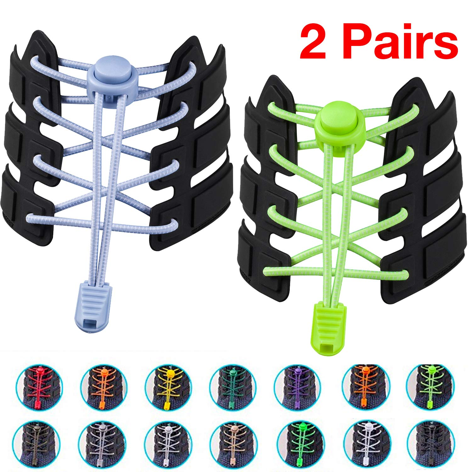 Adjustable Tieless Rubber Shoe Laces Strings Sneakers Boots Board and Casual Shoes Joruby Shoelaces Women Shoe Laces Elastic No Tie Shoelaces for Men Kids and Adults