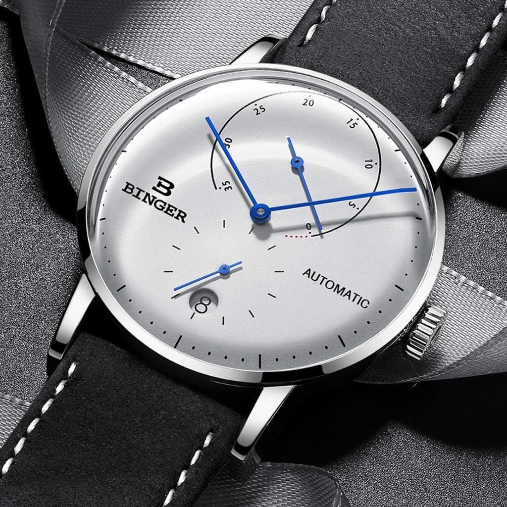 FAPROL-BINGER Amable Reloj De Hombre, Relojes con Núcleo Mecánico Automático con Tienda De Energia Y Visualización del Calendario