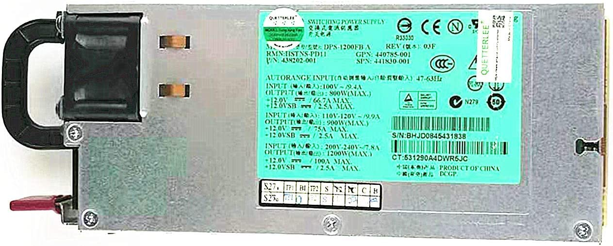 QUETTERLEE Replacement New 1200W Power Supply for HP DL580 G5 ML580 G5 DL380 G7 Series Compatible Part Number 438202-001 HSTNS-PD11 438202-002 441830-001 440785-001 437572-B21 438202-002 DPS-1200FB A