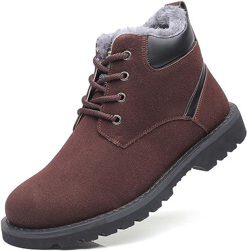 gracosy Bottes Hiver Hommes, Chaussures de Ville en Daim avec Fourrure Chaude Bottines de de Neige Montantes Imperméable Boots Sécurité Chukka