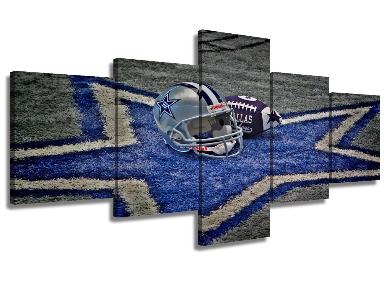 Contemporary Wall Art Dallas Cowboys Home Decor NFL Prints on Canvas Painting,5 Piece Artwork Giclee Picture for Living Room,Posters and Prints Wooden Framed Gallery-wrapped Ready to Hang(50''Wx24''H)