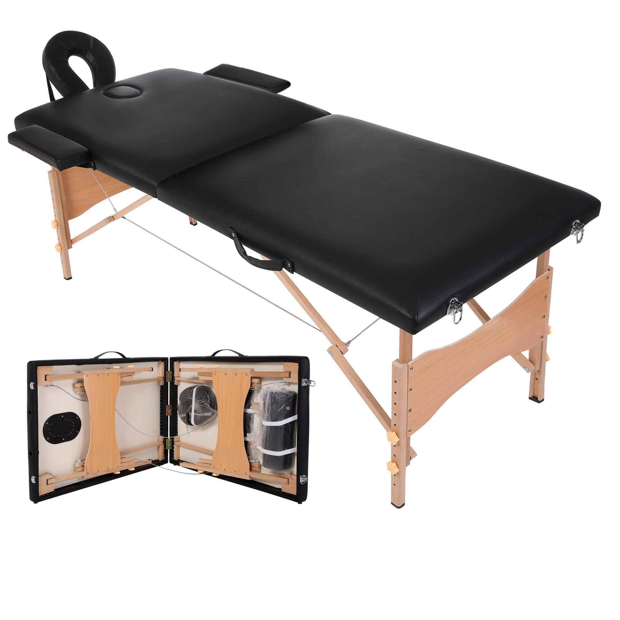 Portable Massage Table Facial Spa Bed Two-Fold Pad Chair Free Carry Case with Adjustable Headrest+ Free Face Pillow+2 Bolsters [US Stock]