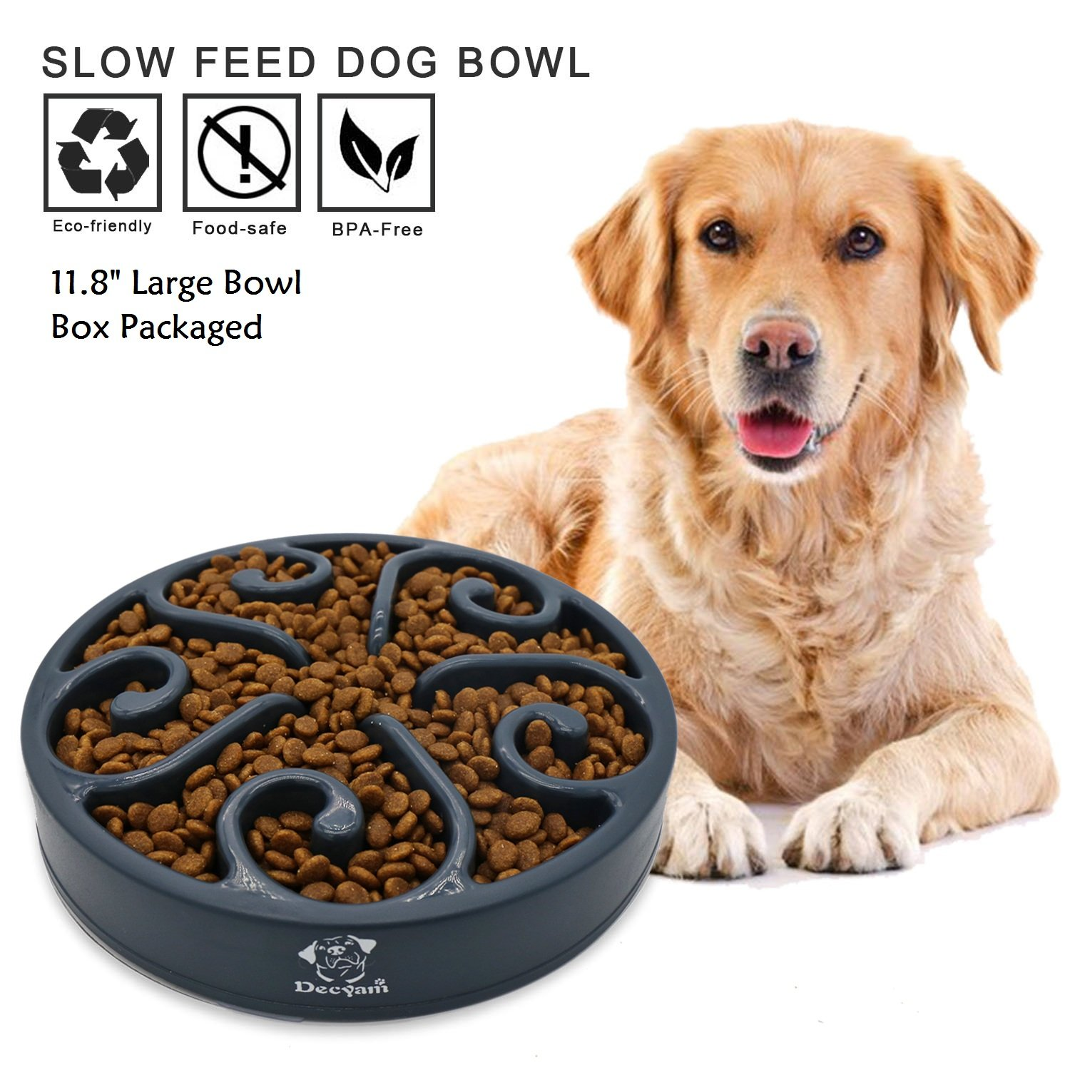 Decyam Pet Fun Feeder Dog Bowl Slow Feeder Large 11.8'', Slow Eating Dog Bowl Interactive Bloat Stop Dog Bowl, Eco-Friendly Non Toxic Slow Feed Dog Bowl for Medium Large Dogs