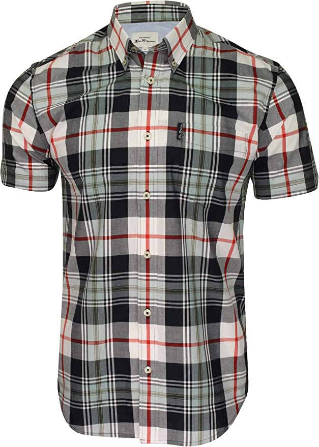 Mens Vintage Shirts – Casual, Dress, T-shirts, Polos Ben Sherman Mens Ss Textured Check Shirt Casual  AT vintagedancer.com