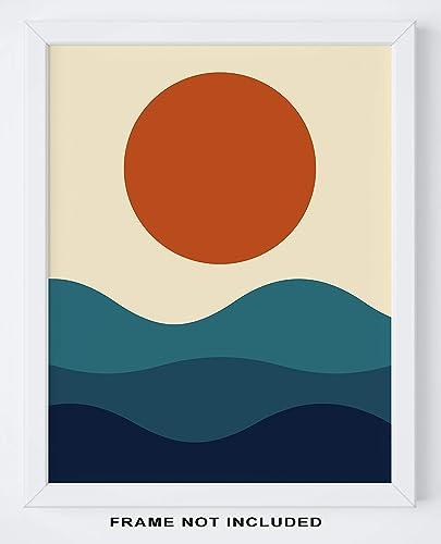 Scandinavian 11x14 UNFRAMED Print Abstract Geometric Sunrise And Sunset Sea Ocean Waves Wall Art Print Nordic Modern Mid Century Modern Decor Minimal Ocean And Sun Wall Decor