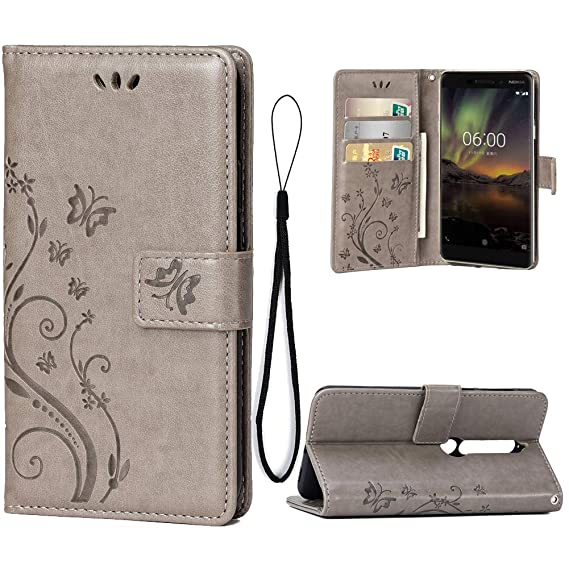 the latest 940fb f180f Wallet Case for Nokia 6(2018)/Nokia 6.1{Not for 6.1 Plus}, 3 Card Holder  Embossed Butterfly Flower PU Leather Magnetic Flip Cover for Nokia ...