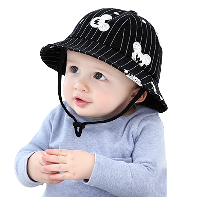 5b6e73fb Baby Boys Girls Summer Cotton Bucket Sun Hat Drawstring Fisherman Caps  Mickey Pattern: Amazon.co.uk: Baby