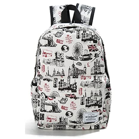 3cb905afd3cc Amazon.com  Preppy Style Female Backpacks Cartoon Cats Print Bookbags Women  Travel Backpack Canvas School Bag For Girls Rucksack 11037h  Sports    Outdoors