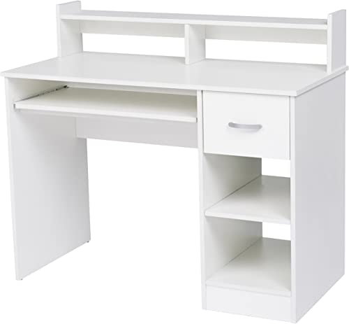 Rockpoint Kora Computer Desk with Keyboard Tray, Daisy White