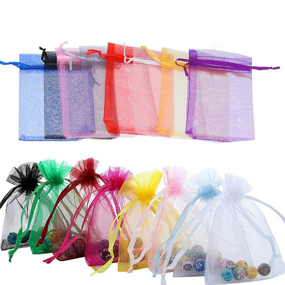 Smozer Sheer Organza Bags, 100pcs 4x6 inch Sheer Organza Wedding Party Favor Gift Jewelry Beads Candy Pouch Bag (Mix Color)