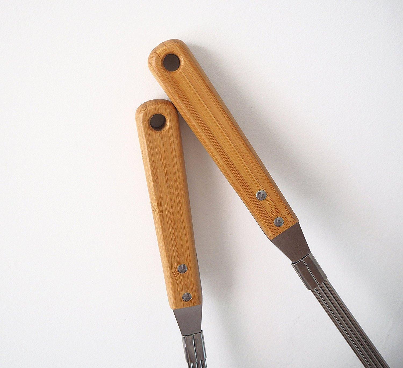 Colador de alambre de acero inoxidable, mango de madera de bambú, de Tenta Kitchen, acero inoxidable, L, Large: Amazon.es: Hogar