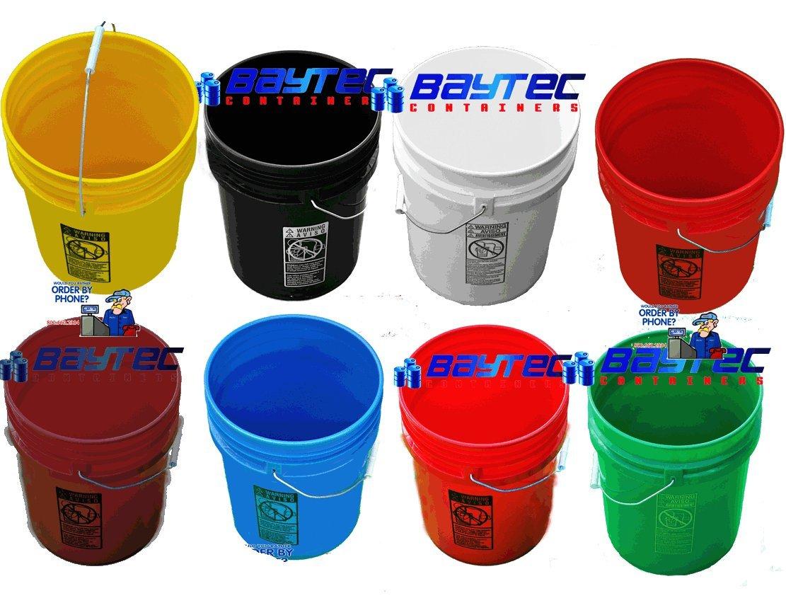 5 Gallon (20L) Plastic Buckets, 3-Pack - Maroon