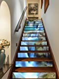 """FLFK 3D Stone Waterfall Rock Self-Adhesive Staircase Stickers Wall Murals 39.3"""" w x 7"""" h x 13pieces"""