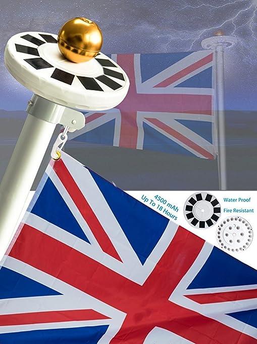 UK New Flag Pole 42LED Solar Powered Automatic Light Night Super Bright Flagpole