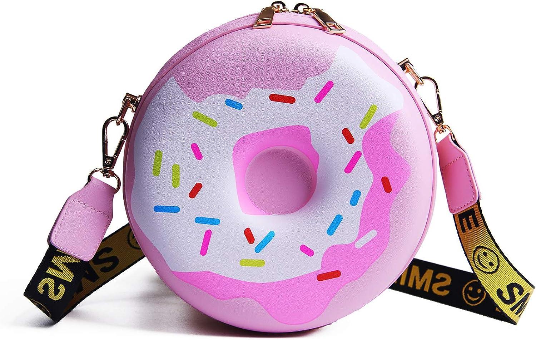 LUI SUI Girls Doughnut Cross Body Purse Bags PU Circular Shoulder Bag Handbag for Women