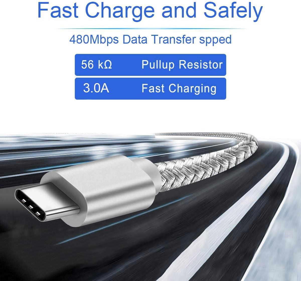Cable Cargador USB Tipo C,Charger Cord for LG V40 V50 V35 G8 G7 G8X G9 Thinq,Stylo 5/Plus,Samsung Galaxy A10E A51 A71 S11,BlackBerry KEY2 LE/KEYone ...