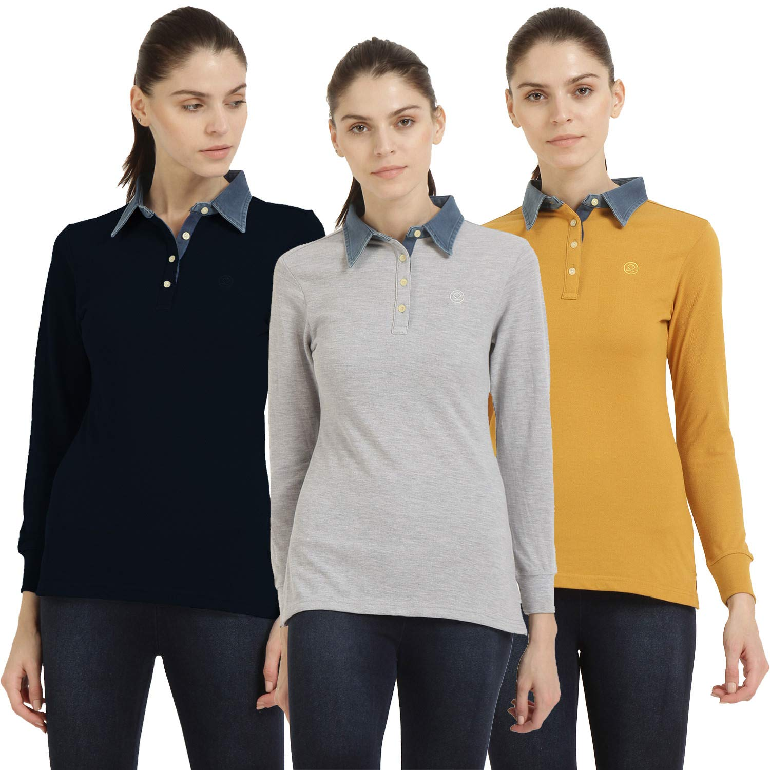 974df59780b CHKOKKO Plain Cotton Polo Neck Full Sleeves T Shirt for Women (Medium