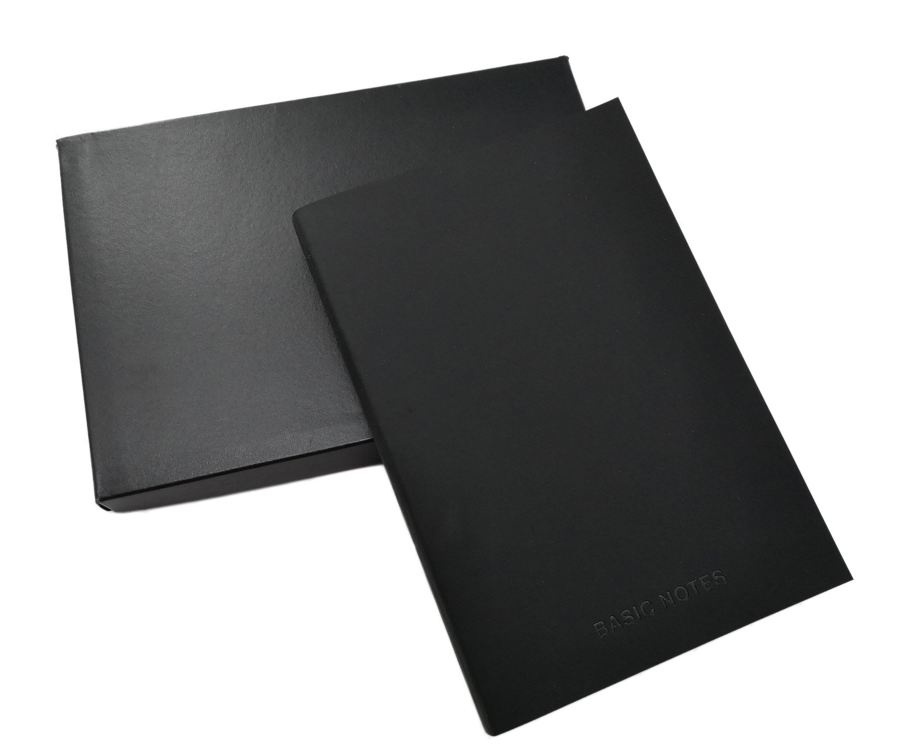 Black Classic A5 Notebook/Journal with PU Leather Cover & 128 Lined Pages for Office/School