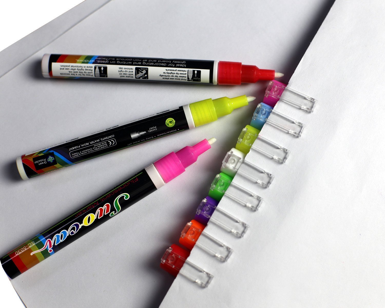 3mm Liquid Chalk Markers Wet Wipe Liquid Chalk Marker Reversible Chisel to Bullet Nib - Great quality Pen - Used on Menus, Windows, Acrylic ,Labels, Bistros, Restaurants, Coffee Shops, Glass, Slates,Tiles, Whiteboards, Non- Porous Chalkboar