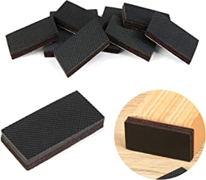 """Non Slip Furniture Rubber Pads 8 Pieces 1x2"""" Anti Slip Furniture Pads Hardwood Stopper Self Adhesive Rectangle Anti Skid Furniture Pads 1/3 inch Thick Furniture Gripper Protector for Hardwood Floor"""