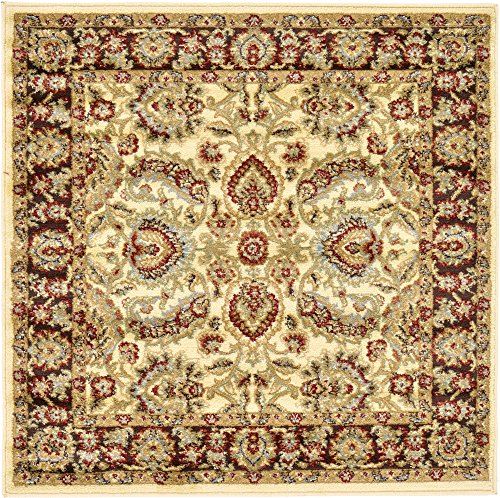 - Unique Loom Voyage Collection Traditional Oriental Classic Cream Square Rug (4' 0 x 4' 0)