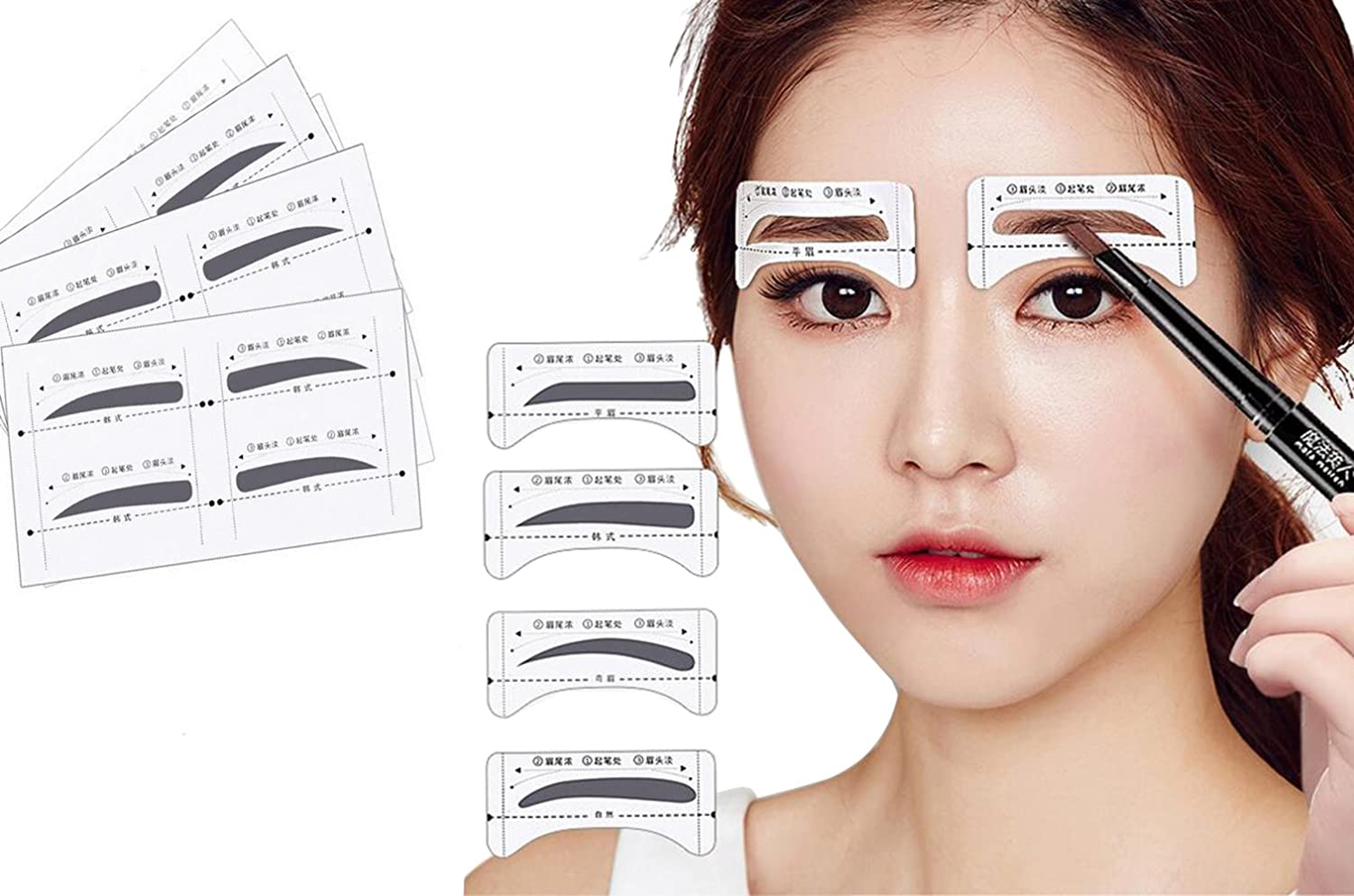 32 paia 4 Differnet stili sopracciglio Drawingthrush di sopracciglia Shaper SHAPING Stencils Grooming kit makeup supply template Acccessories fai da te per trucco sopracciglia sticker per Womean Lady Girls Upstore
