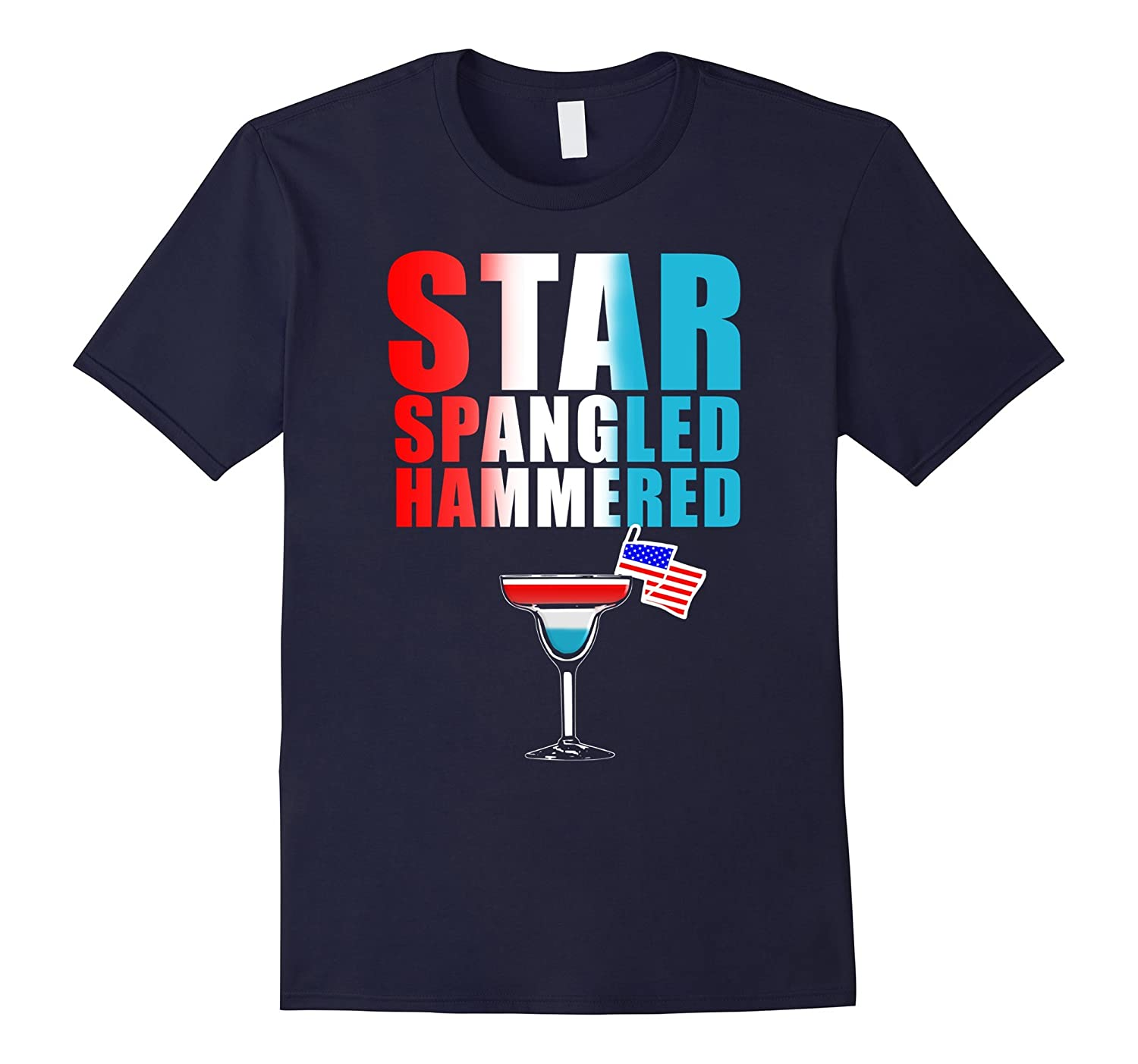 4th Of July Star Spangled Hammered Funny Drinking Tee-Vaci