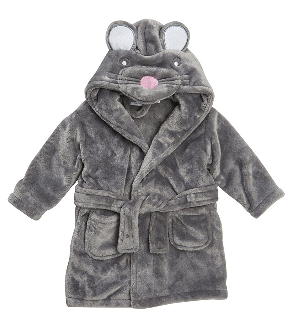 Baby Girls Boys Unisex LUXURY FLANNEL FLEECE Hooded Dressing Gown ANIMAL Yellow Dick Grey Rabbit Black White Panda Bear Size 2 3 4 5 6 Years