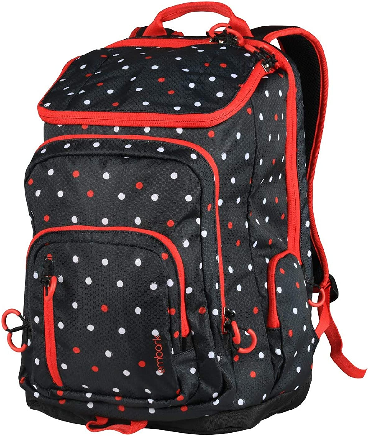 Embark 19 Jartop Elite Backpack-Black with red White Polka dots