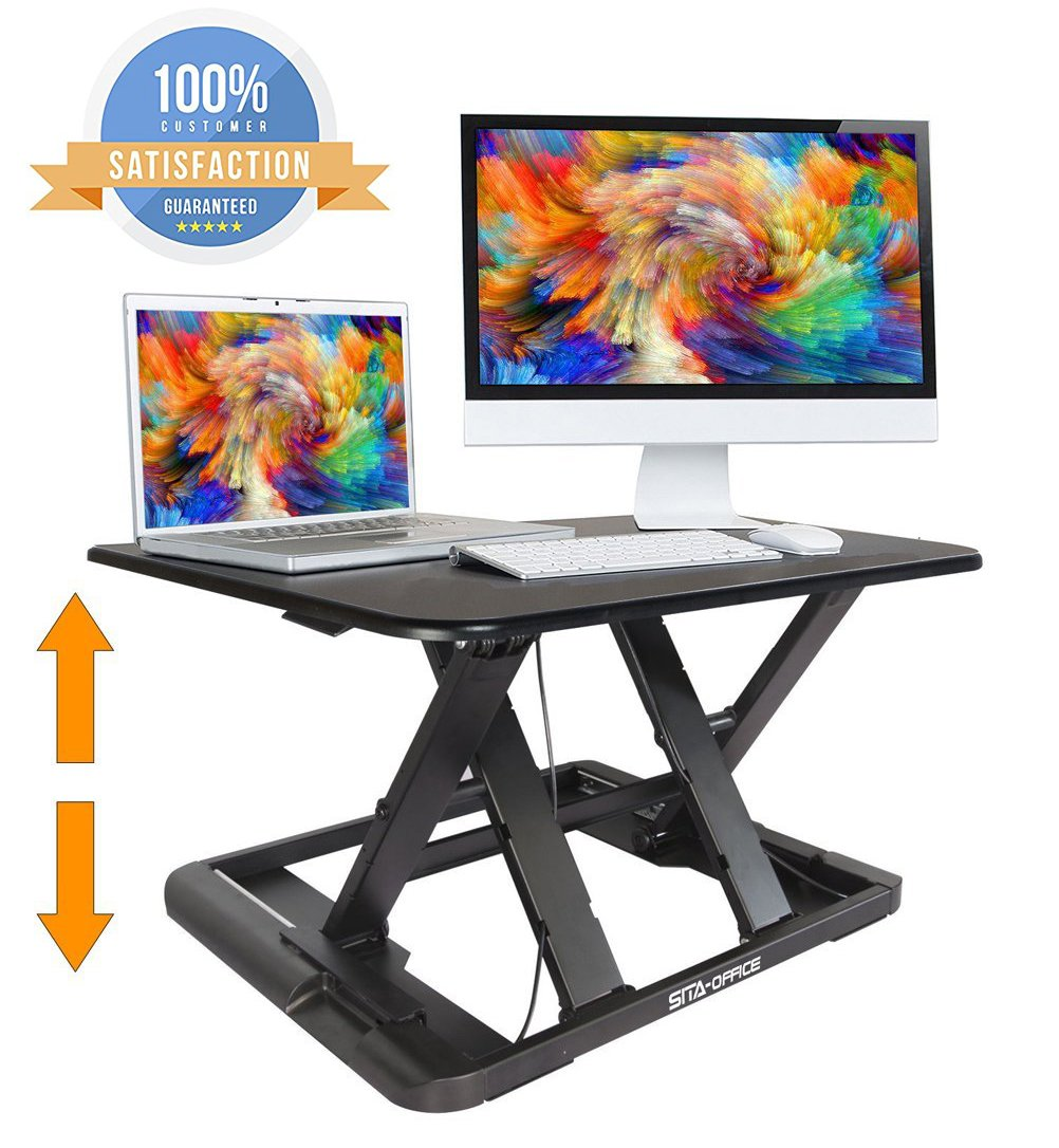 Standing Desk Preassembled Slim Design Height Adjustable Sit Stand Up Desktop Desk Riser Fit Two Monitors Converter Topper Black By SITA OFFICE by SITA-OFFICE