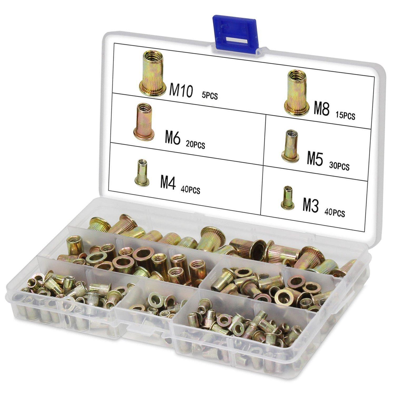 Zinc Plated Carbon Steel Rivet Nut Insert Nutsert Head Threaded Assortment Kits (150Pcs) Shineus