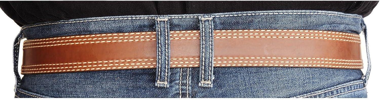 Style-113 Mens 1-1//2 Genuine Premium Real Full Grain Tan Leather Belt with Triple Stitch Edge Trim BULLCO R.G